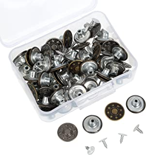 Hestya 40 Sets Jeans Buttons Metal Button Snap Buttons Replacement Kit with Rivets and Plastic Storage Box Silver and Bronze