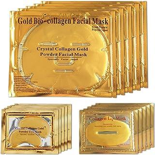 Mascarilla facial de gel de oro de 24 quilates mascarilla para los ojos mascarillas de gel para labios paquete de 5 par...