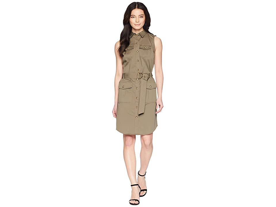 LAUREN Ralph Lauren Petite Stretch Cotton Twill Utility Dress (Sage Moss) Women