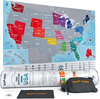 Newverest Scratch Off Map of The United States - Travel Decor Map - Original Gifts for Travelers Women & Men - US Travel Map Poster Fits 17 x 24 Inches - Wall Map of USA Voyage Edition