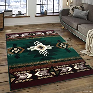 Allstar 8x10 Hunter Green and Burgundy Navajo Machine Carved Effect Rectangular Accent Rug with Ivory and Beige SouthWestren Medallion Design (7' 9