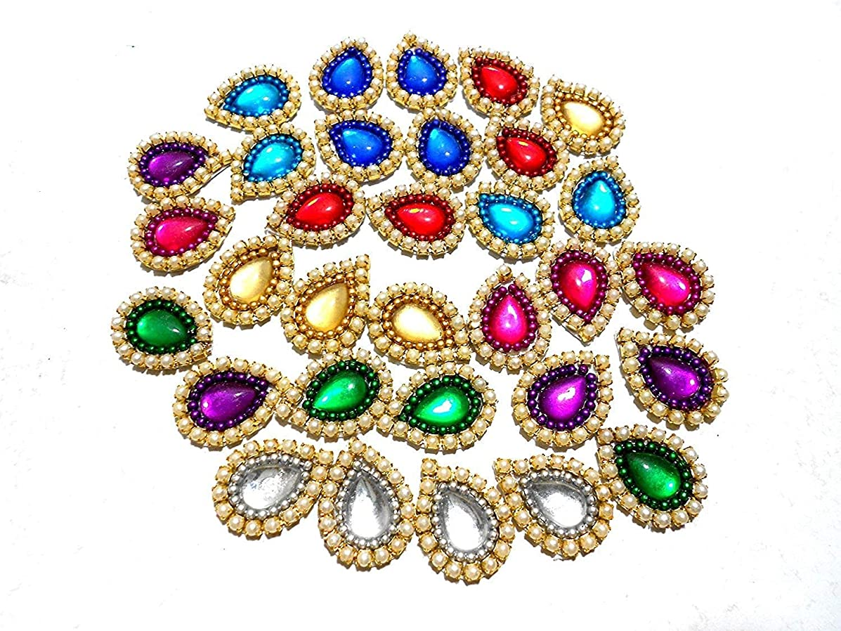 Goelx Pearl Patches Colorful Drop Shape Handmade Appliques Embellishments for Decoration, Crafts Ideas, Jewelery Making, Easy to Use Pack of 50 - Multi Color (15mm)