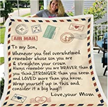 Letter Blanket to My Son and Daughter Fleece Blanket 3D Soft Cozy Lightweight Durable Plush Blanket for Bedroom Living Roo...