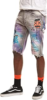 Smoke Rise Men's Fashion Denim Graffiti Shorts(JS20339)