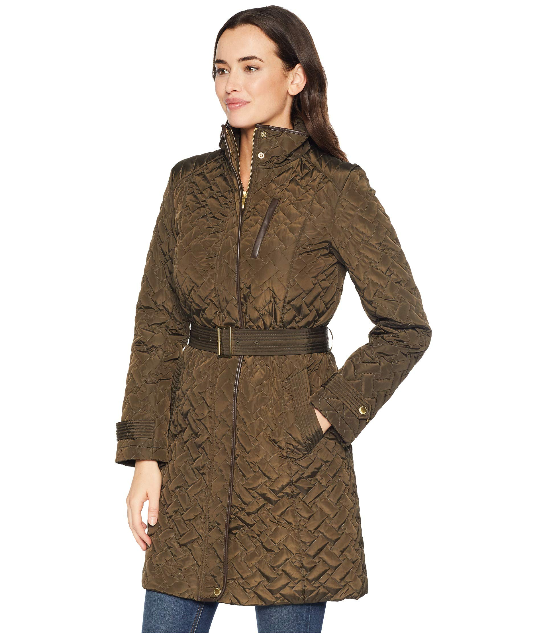 Front Signature With Cole Coat Details Quilt Stitching Trapunto Olive Zip Haan Belted qfEfwSrxZX