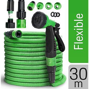 tillvex flexiSchlauch - Flexibler Gartenschlauch 30m ausgedehnt, Testurteil GUT, verbesserte Version 2019, Wasserschlauch flexibel, Gartenteichschlauch dehnbar, grün