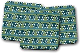 Posavasos de estilo art deco verde y azul, posavasos individuales o juego de 4