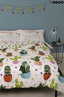 comprar comparacion Funda de edredón doble de Navidad con diseño de cactus de HIVE Merry Christmas y funda de almohada a juego | reversible pa...