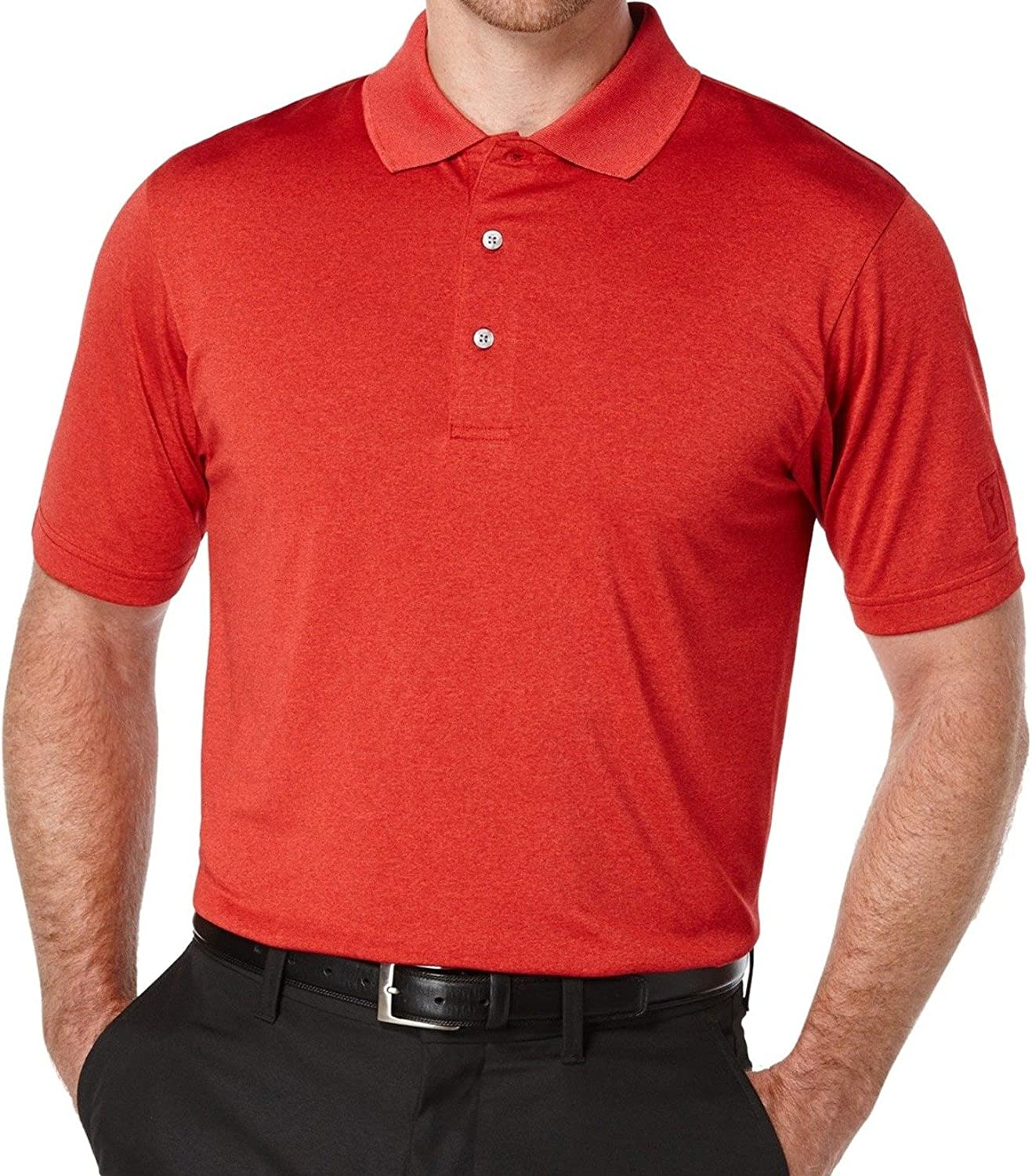 PGA Special Dealing full price reduction Campaign TOUR Mens Heathered Rugby Large Red Shirt Polo