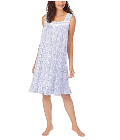 Eileen West Cotton Jersey Knit Sleeveless Short Nightgown (White Ground Blue/Pink Ditsy Floral) Women