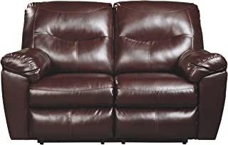 Ashley Furniture Signature Design - Kilzer DuraBlend Reclining Loveseat - Contemporary Reclining Couch - Mahogany