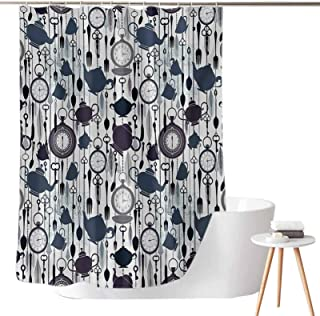 Dasnh Shower Curtains for Bathroom Taupe Antique Crockery Elements Clocks Feathers English Victorian Tradition W72 x L72 P...