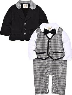 Zoerea Säuglingskleinkind Jungen Baby Bodysuit Tuxedo Sleeved Trikotanzug Spielanzug Insgesamt Outfit Plaid Striped mit Bowknot Design