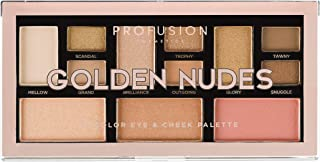 Profusion Cosmetics Mini Artistry 12 Shade Eyeshadow & Blush Palette, Golden Nudes