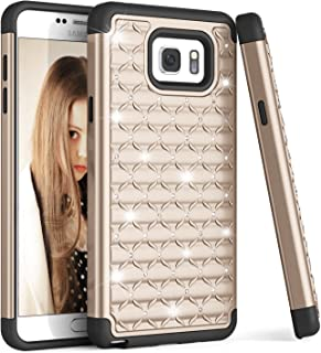 Galaxy Note 5 Case, TILL(TM) Studded Rhinestone Crystal Bling Diamond Sparkly Luxury Shock Absorbing Rugged Defender Hybrid Silicone Plastic Glitter Cute Case Cover For Samsung Note 5 V SM-N920 [Gold]