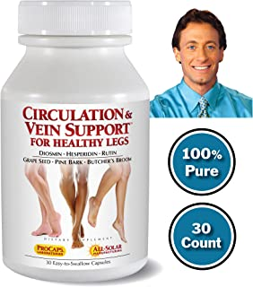 Andrew Lessman Circulation Vein Support for Healthy Legs 30 Count – High Bioactivity Diosmin Natural Oxidants Butcher's Broom Visibly Reduces Swelling and Discomfort in Feet, Ankles, Calves and Legs
