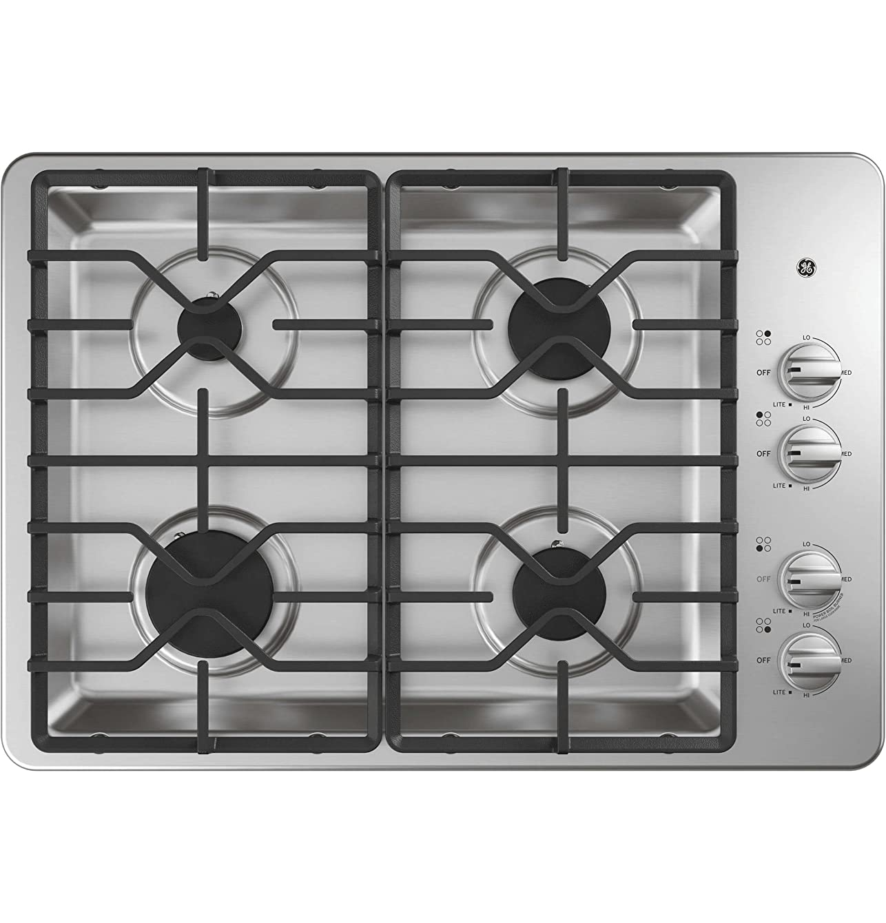 GE JGP3530SLSS 30 Inch Gas Max System, Power Boil, Simmer, Continuous, Dishwasher Safe Grates, Deep Recessed Cooktop, 4 Sealed Burners and ADA Compliant