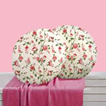 RADANYA Floral Digitally Printed Polyester Round Cushion Cover (16 Inches, Red) - Set of 2