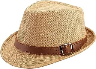 FALETO Summer Straw Fedora Hat for Men Women Mens Beach Hats Cuban Hat Sun Hat Unisex Short Brim Fedora Panama Trilby Hat ...