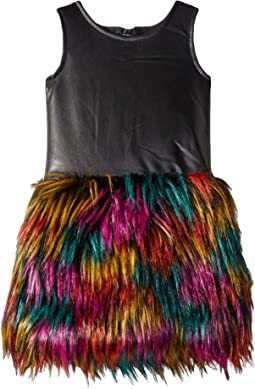 Faux Leather Multicolored Faux Fur Eve Dress (Toddler/Little Kids/Big Kids)