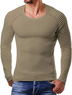 COOFANDY Men's Slim Fit Cable Knit Long Sleeve Crew-Neck Pullover Sweater