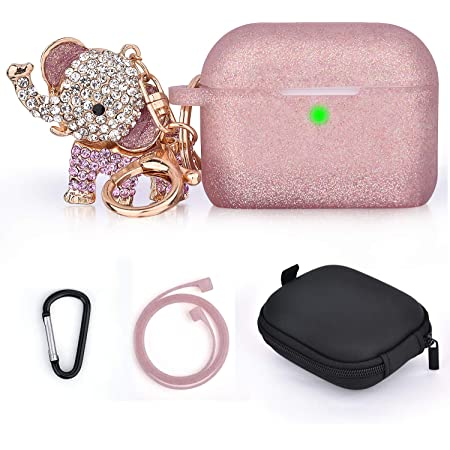 Airpods Pro Case Cover Keychain Cute Set Women,TOROTOP 5 in 1 Silicone Protective Case with Bling Elephant Keychain/Storage Box Compatible for Apple Airpods Pro 2019(Rose Gold)