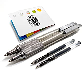 Zebra Pens - F-701 Stainless Steel Ballpoint Retractable Pen Set - Black Ink - Fine Point - 2 Pens with 2 Zebra Ink Replac...