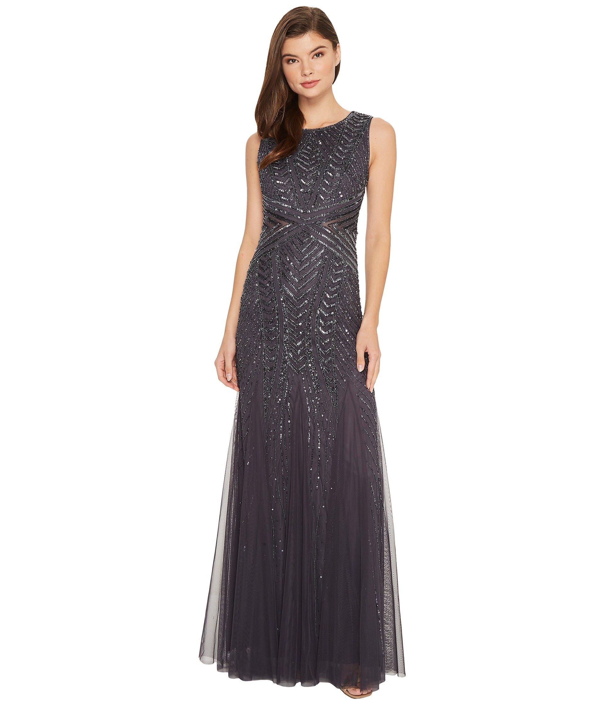 ADRIANNA PAPELL SLEEVELESS FULLY BEADED GOWN WITH WAIST DETAIL ...