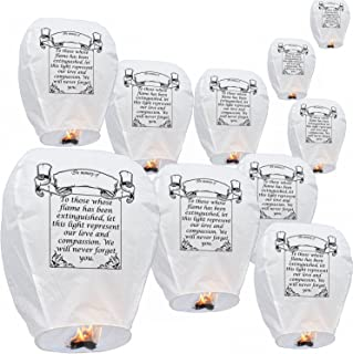 Sky Delight Memory Paper Chinese Sky Flying Floating Lantern, Pack of 10, White