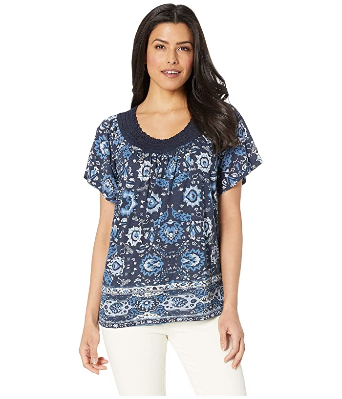 Lucky Brand  Crochet Short Sleeve Top (Blue Multi) Womens T Shirt