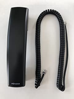 The VoIP Lounge Replacement HD Voice Handset with 12 Foot Cord for Polycom VVX Series IP Phones 300 301 310 311 400 401 410 411 500 501 600 601 1500 Black