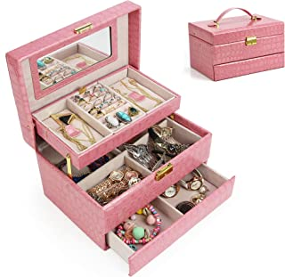 Jewelry Box Organizer Three-Layer Jewelry Display Storage Leather Case with Automatic Lock and Mirror (Pink)