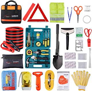Roadside Emergency Car Kit with Jumper Cables, Auto Vehicle Safety Road Side Assistance Kits, Winter Car Kit for Women and Men, with Car Repair Tool Set, Folding Survival Shovel