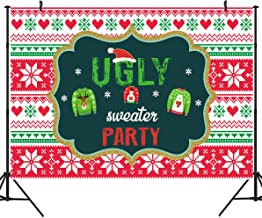 DULUDA 7x5ft Tacky Christmas Sweater Party Backdrop Red and Green Ugly Xmas Patterns Photography Background Winter Kids Elfed Photobooth Decorations Step and Repeat Banner Invitation WXL46