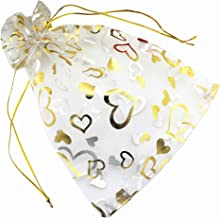 QIANHAILIZZ 8 x 12 Inch 100 Drawstring Heart Flower Bags Organza Jewelry Gift Pouch Candy Pouch Drawstring Wedding Favor Bags (white with heart)