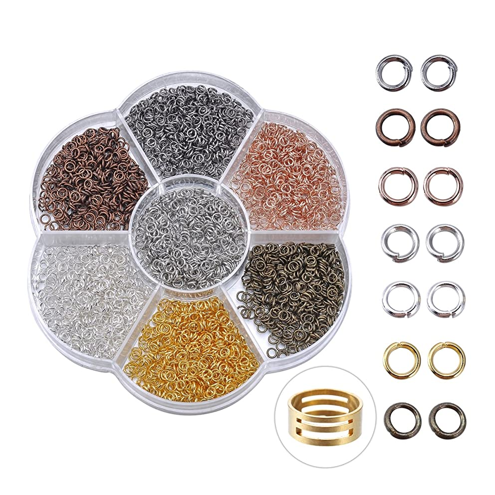 HooAMI 1 Box 7 Colors About 2800pcs Open Jump Rings 3mm Diameter Jewelry Making Findings with Jump Ring Open Tool