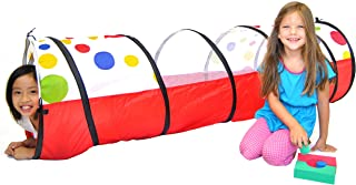 EWONDERWORLD 6' Polka Dot Kids Pop Up Play Tunnel with Carrying Bag – Childrens Tunnel, Play Tube, Crawl Tunnel for Toddlers, Toy Tunnel