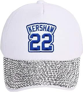 Clayton Kershaw Hat - Los Angeles Baseball Jersey Number Cap (White Rhinestone Studded)