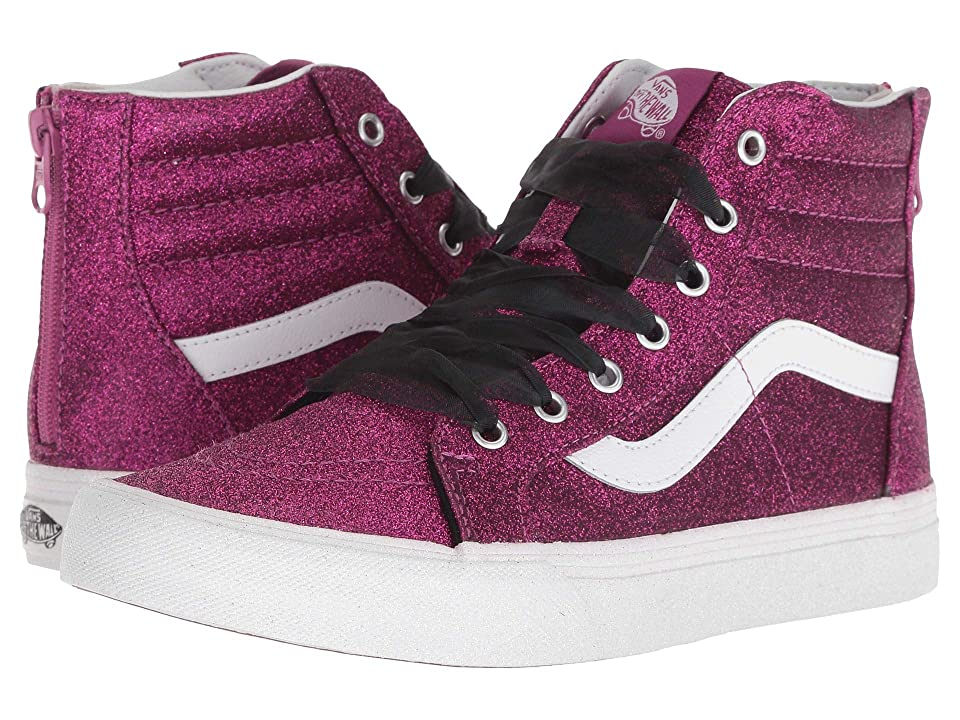 Vans Kids Sk8-Hi Zip (Little Kid/Big Kid) ((Glitter) Wild Aster/True White) Girls Shoes