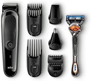 Braun MGK3060 8-in-1 All-in-One Beard Trimmer for Men, Cordless Hair Clipper, Black/Grey, with 6 Attachments and Gillette ProGlide Razor