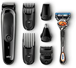 Braun MGK3060 8-in-1 All-in-One Beard Trimmer for Men, Cordless Hair Clipper, Black/Grey, with 6 Attachments and Gillette ...