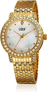 Burgi Women's White Dial Stainless Steel Band Watch - BUR176YG
