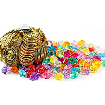 Oiuros 300 Pieces Pirate Gold Coins and Pirate Gems Jewelry Pack Party Favor Halloween Decoration. (150 Coins+150 Gems)