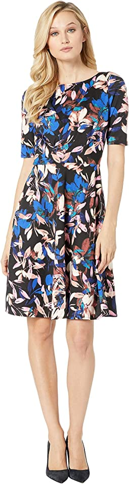 Printed Ponte with Fit & Flare Dress