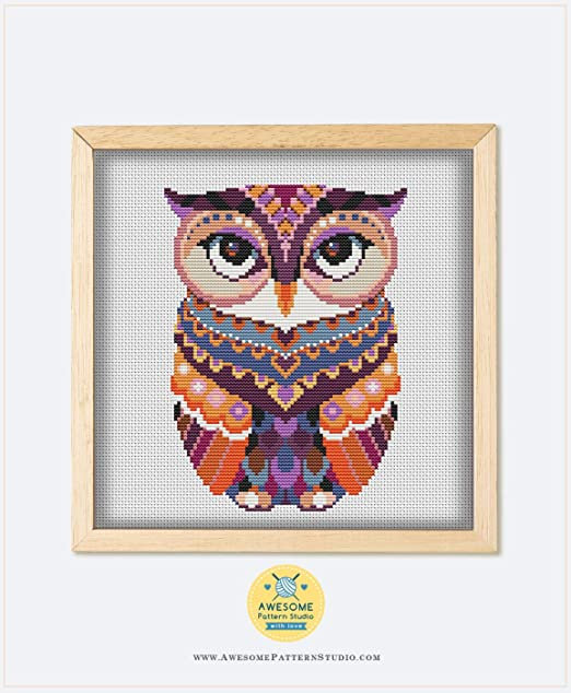 Mandala Owl #P63 Cross Stitch Embroidery Pattern Instant Download Needlepoint Kits Embroidery Designs Cross Designs Stitching