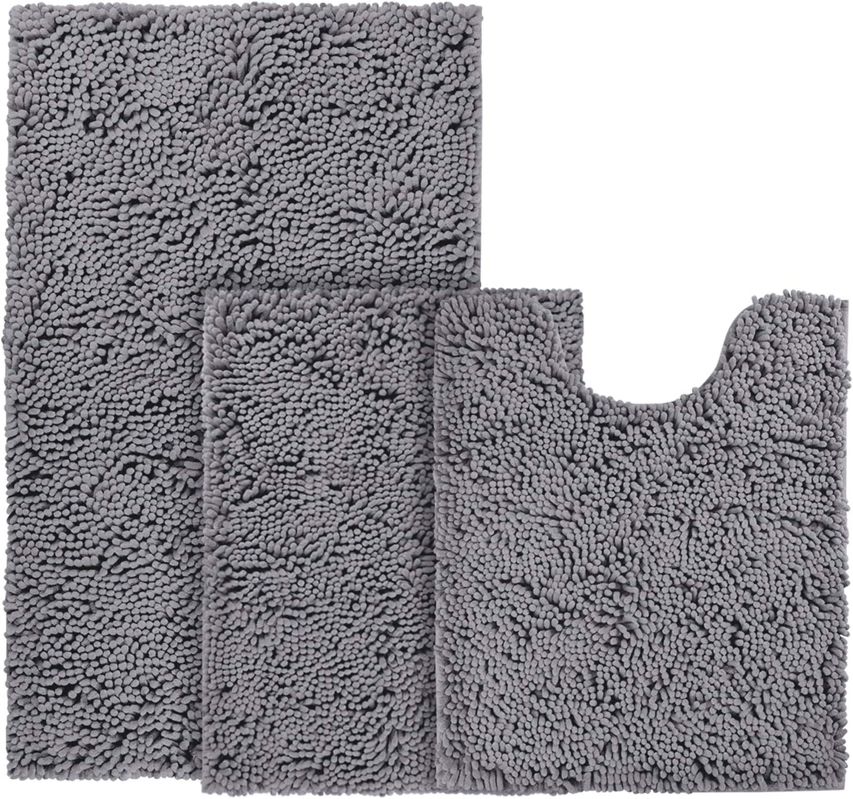 BYSURE Dark Grey Bathroom Rug Max 45% OFF Set Slip Non Absorbe Piece 3 Extra Albuquerque Mall