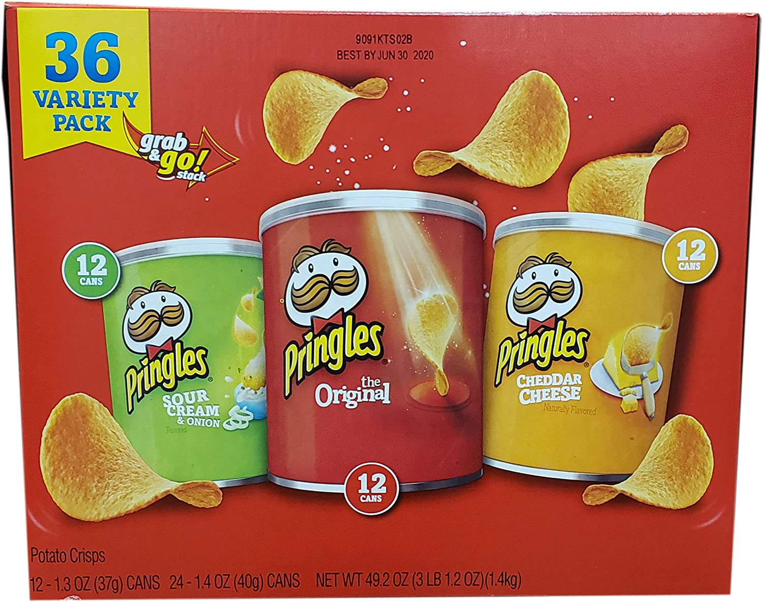 Pringles Grab And Go Potato Crisps Variety Pack, 49.2 Ounce