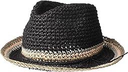 Raffia Crochet Straw Striped Fedora