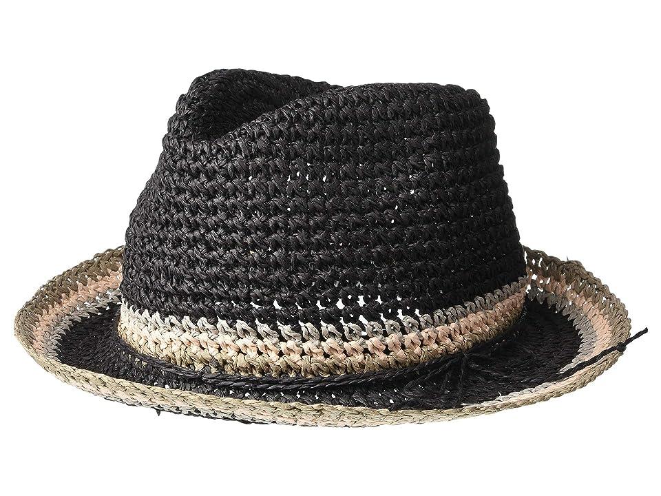 Steve Madden Raffia Crochet Straw Striped Fedora (Black) Fedora Hats