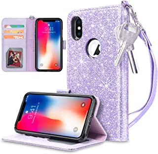 UARMOR Wallet Case for Apple iPhone X / iPhone 10 / iPhone XS 5.8 inch, Glitter Bling Sparkle Shiny PU Leather Folio Flip Case With Kickstand ID Credit Card Holder Shockproof Rubber Cover, Purple